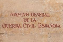 Archief van de Spaanse Burgeroorlog in het centrum van Salamanca, Spanje royalty-vrije stock afbeelding