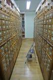Archiefkasten in de bibliotheek Royalty-vrije Stock Foto's