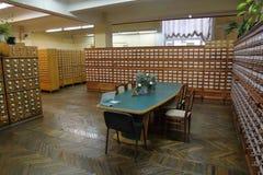 Archiefkasten in de bibliotheek Stock Foto