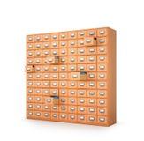 archieven Kabinet met laden voor archivistische documenten 3d illust Stock Foto's