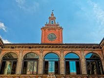 Archiginnasio Bologna Facade Closeup. Archiginnasio Bologna Facade Close up Stock Photo