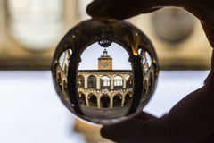 Archiginnasio Univerrsity Library  in a crystal ball Stock Photos