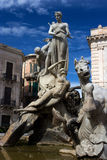 Archimede Square in Syracusa. View of Archimede's square in Ortigia, the town centre of Syracuse. In the middle of the square there is the neoclassical Diana Royalty Free Stock Image
