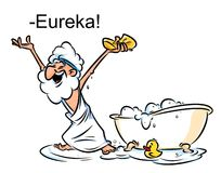 Archimedes Eureka swimming bath cartoon illustration Stock Images