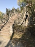Arching Bridge. With steps and lined with trees on one side. Deep blue sky in background. In China royalty free stock photos
