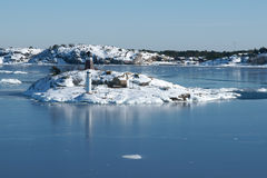 Archipel van eilanden in de Oostzee Stock Foto