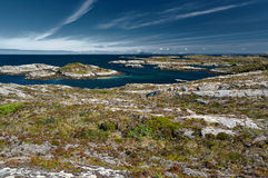 Archipelag view of the coastal granite mountains and high ground of the Trondelag island Hitra, Froya, Fosen. The Norwegian North Stock Image