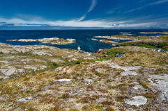 Archipelag view from Hitra island to Norwegian North sea, region Trondelag island Hitra. Archipelag view of the coastal granite mountains and high ground of the stock photography