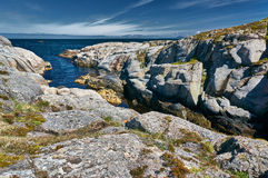 Archipelag view of the Norwegian North sea bay. Royalty Free Stock Photo