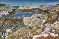 Archipelag view of the Norwegian North sea bay. Hitra island. Stock Images