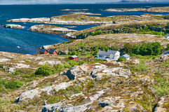 Archipelag view with white and red wooden hytte. Region Trondelag island Hitra, Froya, Fosen. Stock Image