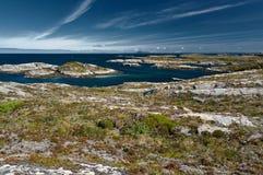 Archipelagmening van de kustgranietbergen en de hoge grond van het Trondelag-eiland Hitra, Froya, Fosen Het Noorse Noorden Stock Afbeelding