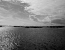 Archipelago. Black and white portrait of a desert island landscape in a Stockholm archipelago royalty free stock image