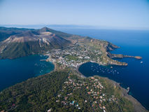 Archipelago of the Aeolian Islands in Sicily. Aerial view of the Aeolian Islands in Sicily - Vulcano and Lipari stock image