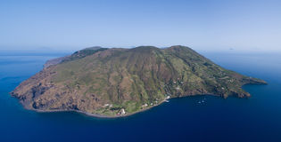 Archipelago of the Aeolian Islands in Sicily. Aerial view of the Aeolian Islands in Sicily - Vulcano and Lipari stock images