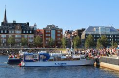 Archipelago boats. Queues for tour boats in the South Port in Lule Stock Image