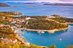 Archipelago of Dalmatia aerial view Stock Photo