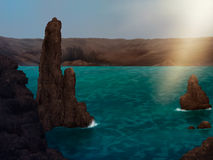 Archipelago Digital Painting. Digital painting of stone formations in an archipelago Royalty Free Stock Photos