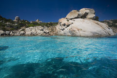 Archipelago of La Maddalena, Sardinia. The turquoise color and transparency of the sea around the island of La Maddalena (G8 Stock Image