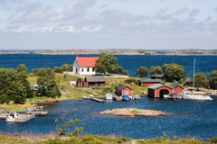Archipelago landscape. And sailing boat  in harbour Stock Images