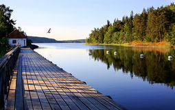 Archipelago in Sweden. A bridge and boathouse at the archipelago royalty free stock photography