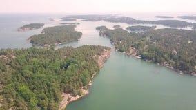 Archipelago of sweden. Drone flight over the islands of sweden stock video