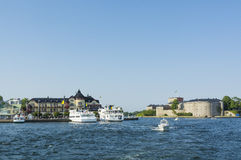 Archipelago town Vaxholm Stockholm archipelago Royalty Free Stock Photos