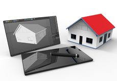 Architech working on a tablet - CAD concept. 3D render illustration of the concept of designing a home using a tablet and a pen using CAD programs. The Royalty Free Stock Photography