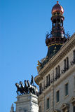 Architechture detail. Downtown Madrid, Spain, charriot with horses is a famous landmark Royalty Free Stock Photography