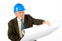 Architect. A construction worker, builder, project manager isolated in white Stock Images