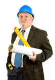 Architect. A construction worker, builder, project manager isolated in white Royalty Free Stock Photography