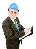 Architect. A construction worker, builder, project manager isolated in white Stock Photography