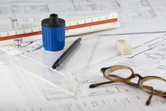 Architect. Work Station of architect and eyeglasses Royalty Free Stock Images