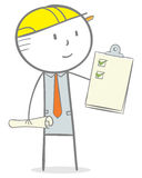 Architect. Doodle stick figure: Architect holding a checklist clipboard Stock Images