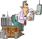 The Architect. This illustration that I created depicts a man comparing different model sized buildings Stock Image