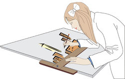 Architect. Illustration of woman architect job Royalty Free Stock Photo