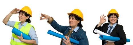 Architect. Female architect studio isolated at work Stock Photos