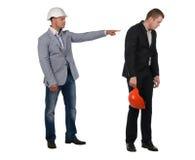 Architect admonishing his young partner Stock Image