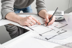 Architect architecture drawing project blueprint working design Stock Photo