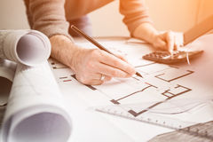 Architect architecture drawing project blueprint working design Royalty Free Stock Photos