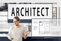 Architect Architecture Housing Floor Plan Concept Royalty Free Stock Photos