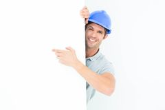 Architect with bill board over white background Stock Images