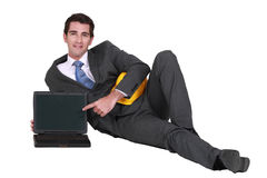 Architect with a blank laptop Royalty Free Stock Images