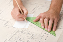 Architect with blueprint Royalty Free Stock Photos