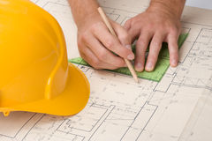 Architect with blueprint stock images