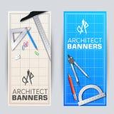 Architect blueprint banners cards set. Vector illustration design. Architect blueprint banners cards set vector illustration