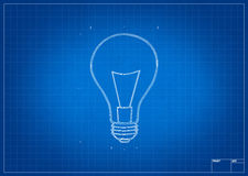 Architect blueprint with electric bulb Royalty Free Stock Photography