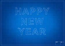 Architect blueprint with happy new year Stock Image