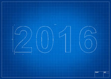 Architect blueprint for 2016 new year. With mesure and lines Royalty Free Stock Image