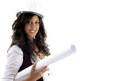 Architect with blueprint roll. Young female architect holding blueprints on an isolated white background Stock Image